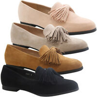 Womens Tassels Bow Loafers Ladies Fringe Flats Office Pumps School Shoes Size