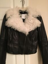 Adam Lippes Shearling Collar Black Leather White Lamb Fur Silk Size XS Jacket
