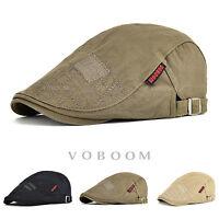 Mens 100% Cotton Summer Gatsby Cap Ivy Hat Golf Driving Sun Flat Cabbie Newsboy