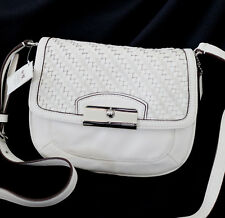 NWT COACH White Kristin Woven Leather Swingpack Crossbody Swing Bag Purse NEW