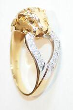 Stunning Vintage 18ct Gold Diamond Set Panther Head Ring Size O 1/2