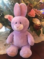 2011 TY Pluffies Plush SPRINGY BUNNY Purple White Pink Ears Beanie Baby Rabbit