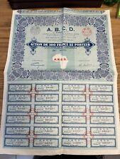 EMPRUNT ACTION OBLIGATION A.B.C.D 1000 FRANCS 1928