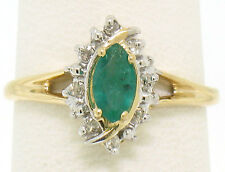 Petite 14k Yellow Gold .47ctw Marquise Emerald Solitaire Round Diamond Halo Ring