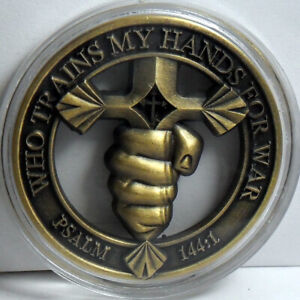 Christian Warrior Challenge coin Psalm 144:1 Blessed be the LORD, my rock,