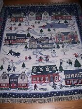 "VTG Christmas Town Winter Snow Fun Tapestry Throw Blanket Lap 57"" x 46"" Holiday"