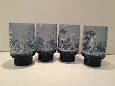 Four (4) Vintage Libbey Blue Glass Tumblers Boy Girl Dog Mary Gregory