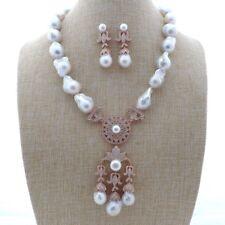 "GE112201 20"" White Keshi PearlNecklace Earrings Set"