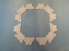 Set - 4Pcs-Blanco, Blonda a mano motivo, adorno de encaje, decoraciones de esquina de boda, - 11x6cm