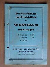 Westfalia Melkanlagen C D E J 700 708 H27 J27 Betriebsanleitung Ersatzteiliste