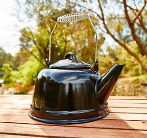 Camping Kettle (2.4L) Enamel cooking Outdoor CampBoiling Brewing teapot coffee