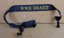 HMS Drake Royal Navy Full Length Cap Tally Genuine issued item 1950's b2