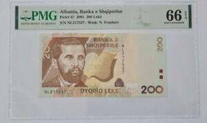 2001 Albania 200 Leke PMG66 EPQ GEM UNC【P-67】