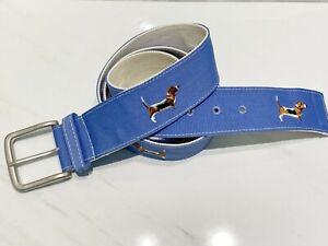 Embroidered Belt Basset Hound Dog Mens Womens Patterned Ribbon Belt Preppy