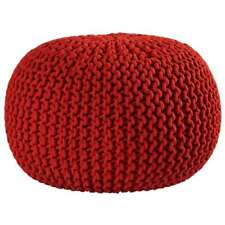 "St. Croix 16"" Red Cotton Rope Pouf Ottoman, Red - FCR1813"