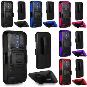 For ZTE ZMAX Pro Z981 / Carry Hybrid Armor Hard Case Cover + Belt Clip Holster
