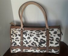 Guess Caytie East West  Leopard Denim Tote Bag, Brown