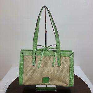 Liz Claiborne Handbag Purse Straw Green Animal Print Bow Zip Pockets ID Holder