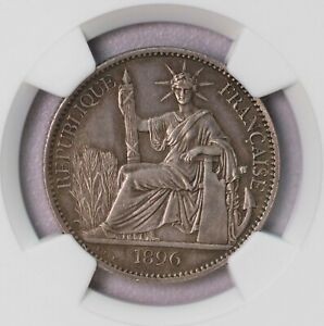 NGC-AU55 1896A FR INDO CHINA 50CENTS SILVER KEY DATE TONED AUNC