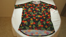 LulaRoe Irma Black Floral Print Short Sleeve Top Size XS NEW With Tags