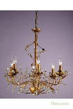 DUSX Floral Antique Gold & Clear Crystal Large 6 Arm Chandelier Ceiling Light