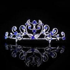 Kids Heart Royal Blue Flower Girl Children Wedding Prom Tiara Crown Headband