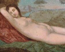 1700's Italian Sleeping VENUS NUDE OIL Wood Apres Giorgione Neo-Renaissance