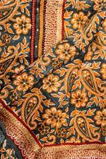Vintage Indian Pure Silk Kantha Saree Fabric Hand Embroidered Printed Sari 5YD