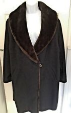 VINTAGE 70s MARKS AND SPENCER FAUX FUR COLLARED OVERSIZED COAT SIZE 16 EX COND