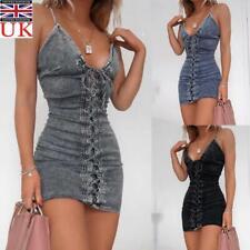 Women Lace Up Strappy Bodycon Dress Ladies Club Party Mini Denim Jeans Dress UK