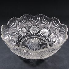 Star flake and fan pressed glass bowl,  scalloped rim