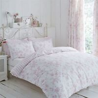 FLORAL TOILE STRIPE PINK WHITE KING SIZE DUVET COVER & PENCIL PLEAT CURTAINS
