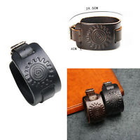 Adjustable Punk Unisex Sun Genuine Leather Wristband Charm Bracelet Bangle Gift