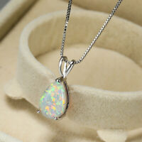 925 Silver Teardrop Cut White/Blue/Green Fire Opal Necklace Pendant Jewelry Gift
