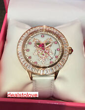 NWT Rare Betsey Johnson White Leather Clear Pink Crystal Owl Rose Gold Watch