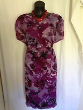 SIZE 22 SMART FLATTERING PURPLE FLORAL DRESS - BNWT