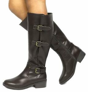 TOETOS Women's Zipper Military Low Flat Heel Riding Knee High Boot Shoes Size US