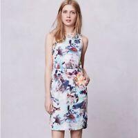 Anthropologie Weston Wear Watercolor Floral Print Dress Sheath Pockets Small