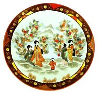 Antique SIGNED Asian Japanese SATSUMA CHARGER Porcelain Gilded PLATE BOWL 14.25""