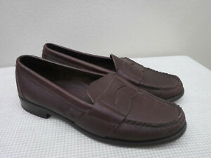 Women's COLE HAAN HANDSEWN 8.5 Brown Leather Moccasin Penny Loafers Dress Shoes
