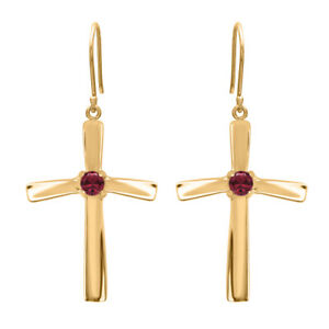 Religious Cross Dangle 3 MM Round Red Sapphire 9K Yellow Gold Earring