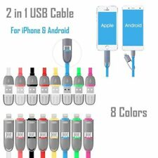 2 In 1 USB For Android Apple Data Sync Cable Wire Charger Cord iPhone Samsung