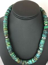 Native American Sterling Silver Turquoise 10 mm Heishi Bead Necklace 18 Inches