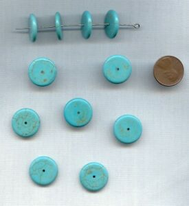 6 VINTAGE GENUINE TURQUOISE MATRIX 3x18mm. SMOOTH DISC SPACER BEADS 1931