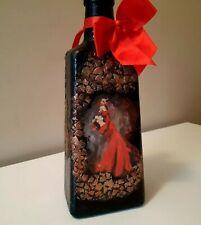 Black and red Spanish Lady decorative bottle/vase handmade