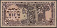 Netherlands Indies 10 gulden 1942 JIM with serial number, EF-, Pick 125a