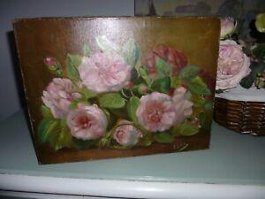 Tableau huile sur toile ancien joli bouquet de roses signé L. Gillot