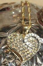 Diamond Heart Pendant 14K Yellow Gold CHOCOLATE - WHITE Necklace 0.18 CT.