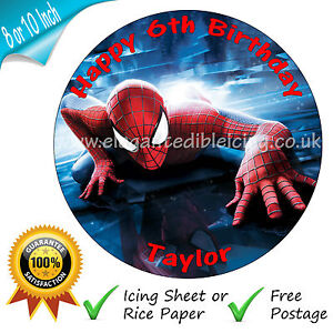 SPIDERMAN PERSONALISED EDIBLE ROUND PRINTED BIRTHDAY CAKE TOPPER DECORATION
