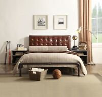 Queen Size Bed Brown Top Grain Leather Contemporary Style Bedroom Furniture 1pc